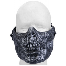 UK Arms Airsoft Tactical Zombie Skull Half Face Mask - SILVER/BLACK