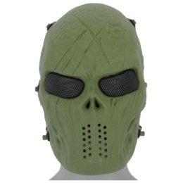 UK Arms Airsoft Villain Skull Full Face Mesh Mask - OD GREEN