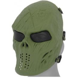 UK Arms Airsoft Villain Skull Full Face Mesh Mask - OD GREEN