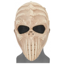 UK Arms Airsoft Tactical Vertabral Full Face Mesh Mask - SKELETON