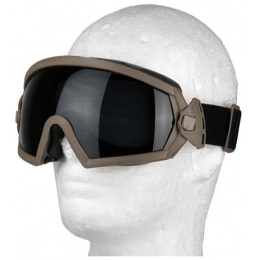 UK Arms Tactical SI Ballistic Smoke/Clear Lens Goggle Set - TAN