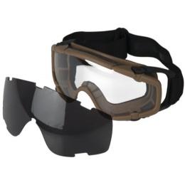 UK Arms Tactical SI Ballistic Smoke/Clear Lens Goggle Set - TAN