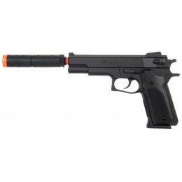 UK Arms Airsoft Full Size Spring Powered Pistol w/ Silencer - BLACK