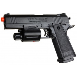 UK Arms Airsoft Spring Powered Laser Flashlight Pistol - BLACK