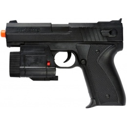 UK Arms Airsoft Spring Powered Laser Flashlight Pistol - BLACK