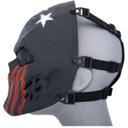 UK Arms Airsoft Villain Skull Full Face Mesh Mask - STARS STRIPES