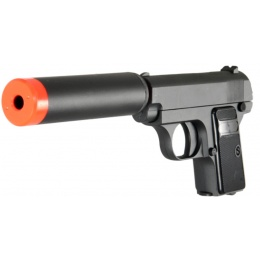 UK Arms Airsoft G1A Metal Spring Pistol w/ Barrel Extension - BLACK