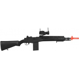 UK Arms Airsoft M14 Scout Spring Rifle w/ Red Dot Sight - BLACK