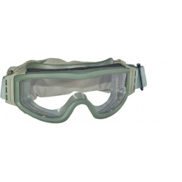 Lancer Tactical Airsoft Tactical Basic Clear Lens Safety Goggles - OD GREEN