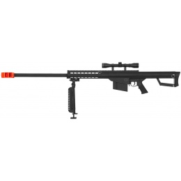 Lancer Tactical Airsoft M82 Spring Rifle w/ Scope and Bi-pod - BLACK