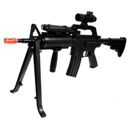 WellFire M4 RIS Spring Airsoft Rifle w Scope, Flashlight, and Bipod