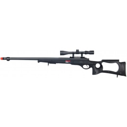 Well Airsoft Bolt Action L96 Fluted Barrel Rifle w/ Scope - BLACK