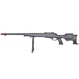 Well Airsoft Bolt Action Fluted Barrel Rifle w/ Bi-Pod - BLACK