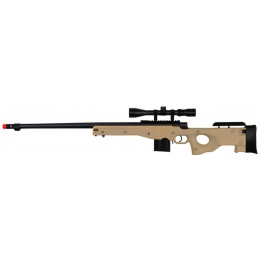 Well Airsoft  Bolt Action Rifle w/ Fluted Barrel and Scope - TAN