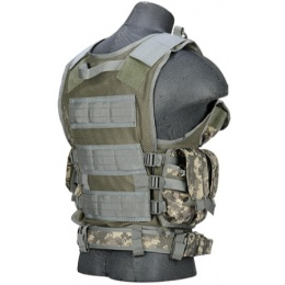 Lancer Tactical Airsoft Cross Draw Combat Vest w/ Holster - ACU