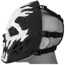 UK Arms Airsoft Full Face Metal Mesh Villain Mask - WHITE FLAMES