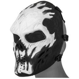 UK Arms Airsoft Full Face Metal Mesh Villain Mask - WHITE FLAMES