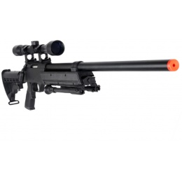 WellFire MB06 Airsoft Bolt Action Sniper Rifle w/ Scope and Bipod - BLACK