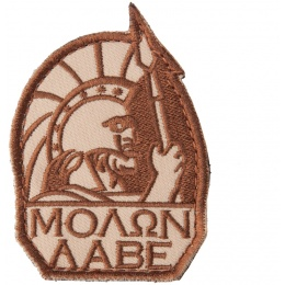AMA Airsoft AC-142 Molon Labe Hook and Loop Morale Patch - TAN