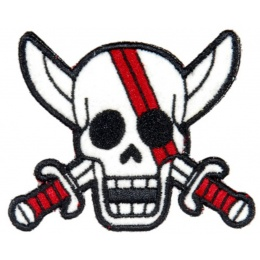 AMA Airsoft AC-140l Pirate Skull Morale Patch - WHITE/RED