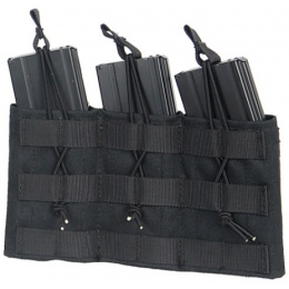 Lancer Tactical Airsoft Triple MOLLE Bungee Mag Pouch - BLACK