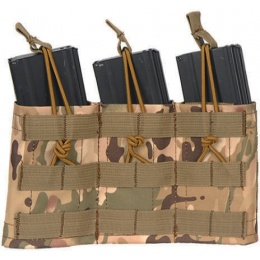 Lancer Tactical Airsoft Triple MOLLE Bungee Mag Pouch - CAMO