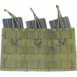 Lancer Tactical Airsoft Triple MOLLE Bungee Mag Pouch - OD GREEN