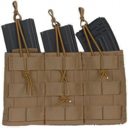 Lancer Tactical Airsoft Triple MOLLE Bungee Mag Pouch - TAN