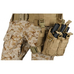 Lancer Tactical Airsoft Tactical 2x2 MOLLE Bungee Leg Rig - TAN