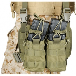 Lancer Tactical Airsoft Tactical 2x2 MOLLE Bungee Leg Rig - OD GREEN