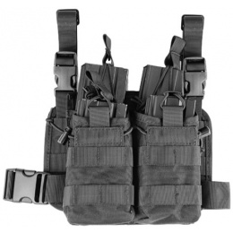 Lancer Tactical Airsoft Tactical 2x2 MOLLE Bungee Leg Rig - BLACK