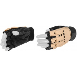 UK Arms Airsoft Tactical Half Finger Gloves Medium - TAN