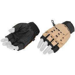UK Arms Airsoft Tactical Half Finger Gloves Medium - TAN