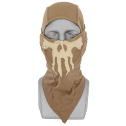 UK Arms Airsoft Tactical Glow-in-Dark Skull Balaclava Face Mask - TAN