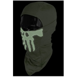 UK Arms Airsoft Glow-in-the-Dark Skull Balaclava Face Mask - OD GREEN