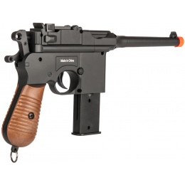 UK Arms Airsoft Mauser WWII Broomhandle Pistol - BLACK