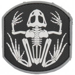 UK Arms Airsoft Frog Skeleton PVC Patch - BLACK/WHITE