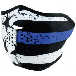 ZANheadgear Airsoft Tactical Blue Line Motley Half Face Mask - BLACK