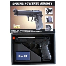 HFC M9 Vertec Airsoft Spring Pistol w/ Slide Lock - SILVER and BLACK