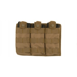 Lancer Tactical Airsoft Triple MOLLE M4 Magazine Pouch - TAN