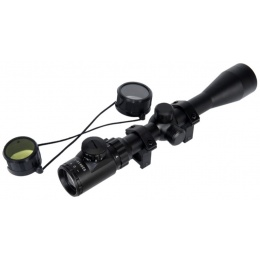 Lancer Tactical 3X9 Red and Green Metal Rifle Scope - BLACK