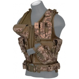 Lancer Tactical Airsoft Cross Draw Combat Vest w/ Holster - DESERT DIGITAL