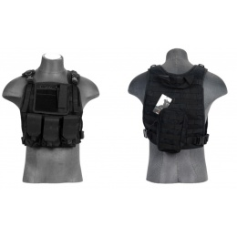 Lancer Tactical Airsoft Tactical MOLLE Plate Carrier Vest - BLACK