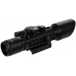 Lancer Tactical Airsoft 3-10x42mm Red/Green Scope w/ Laser - BLACK