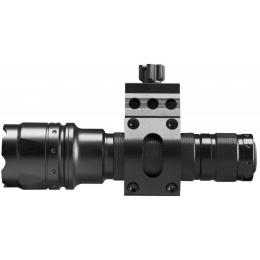 AIM Sports 500 Lumen Flashlight w/ 45 Degree Offset Mount - BLACK
