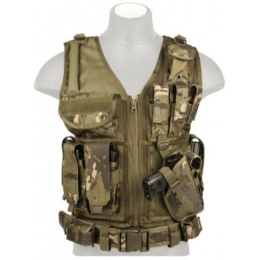 Lancer Tactical Combat Cross Draw Vest w/ Holster - CAMO TROPIC