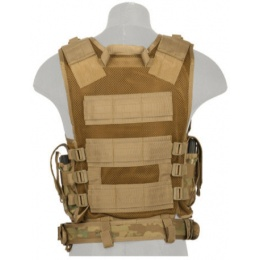Lancer Tactical Airsoft Cross Draw Vest w/ Holster - CAMO