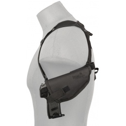 Lancer Tactical Single Airsoft Pistol Shoulder Holster - BLACK