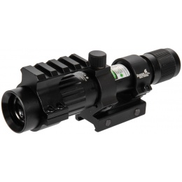Lancer Tactical Airsoft Adjustable Green Laser Sight w/ Mount - BLACK