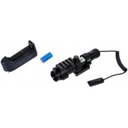 Lancer Tactical Airsoft Adjustable Green Laser Sight w/ Mount - BLACK
